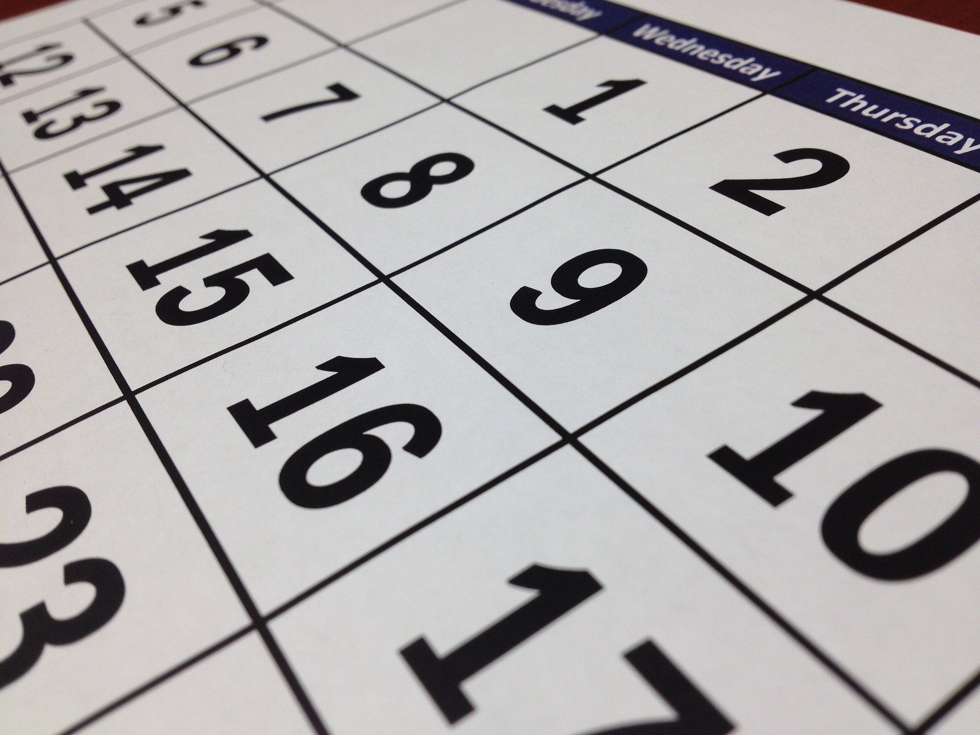 image of large calendar showing dates